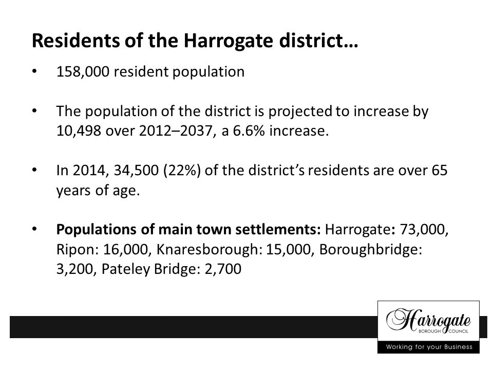 Residents of the Harrogate district… 158,000 resident population The population of the district is projected to increase by 10,498 over 2012–2037, a 6.6% increase.