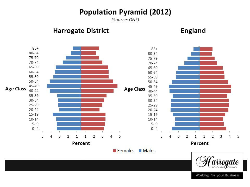 Population Pyramid (2012) (Source: ONS) Harrogate District England