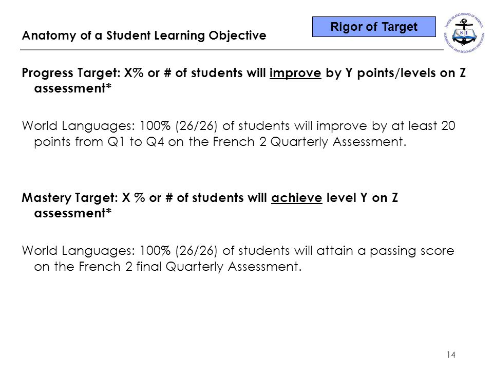 14 Progress Target: X% or # of students will improve by Y points/levels on Z assessment* World Languages: 100% (26/26) of students will improve by at least 20 points from Q1 to Q4 on the French 2 Quarterly Assessment.