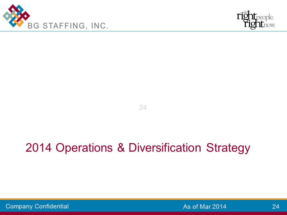 Company Confidential 24 As of Mar 2014 2014 Operations & Diversification Strategy