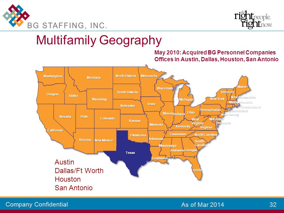 Company Confidential 32 As of Mar 2014 Multifamily Geography Colorado Kansas New Mexico Arizona California Oklahoma Texas Missouri Louisiana Mississip