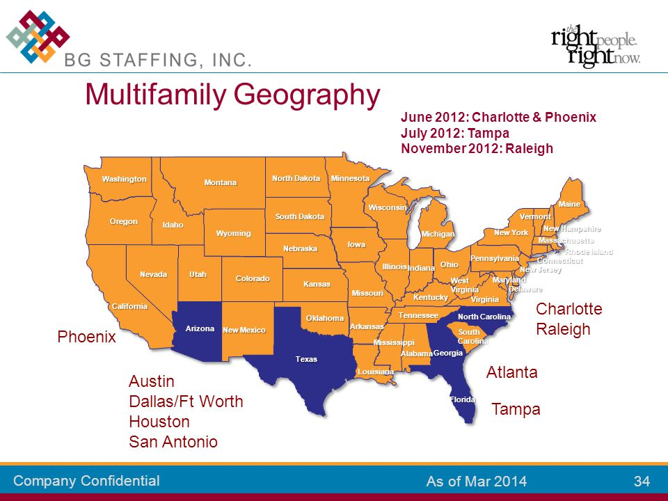 Company Confidential 34 As of Mar 2014 Multifamily Geography Colorado Kansas New Mexico Arizona California Oklahoma Texas Missouri Louisiana Mississip