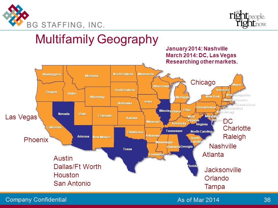 Company Confidential 36 As of Mar 2014 Multifamily Geography Colorado Kansas New Mexico Arizona California Oklahoma Texas Missouri Louisiana Mississip