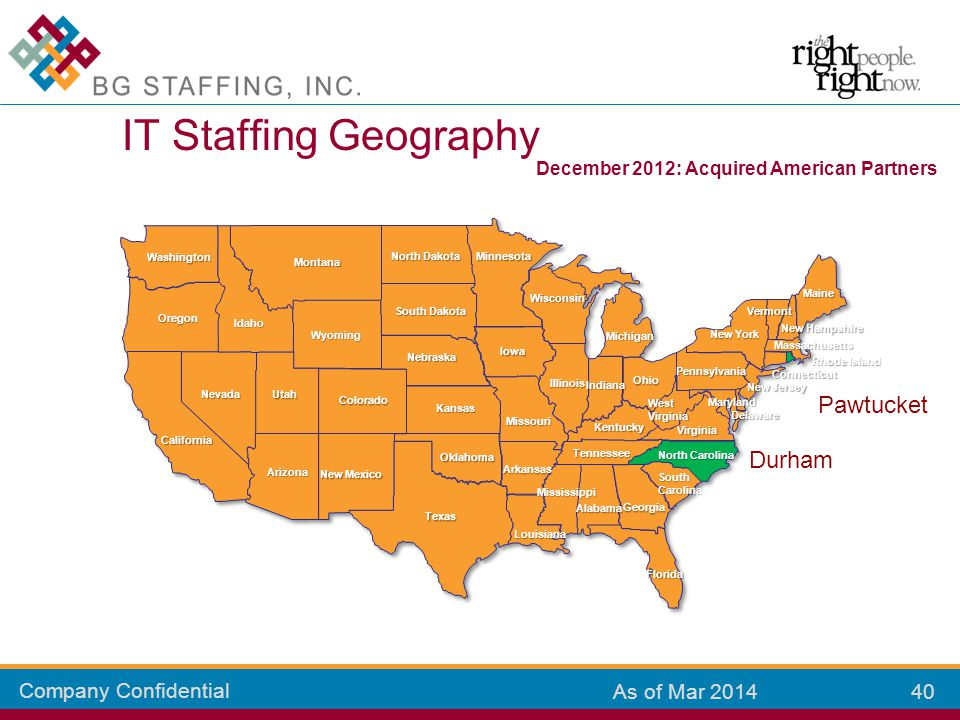 Company Confidential 40 As of Mar 2014 IT Staffing Geography Colorado Kansas New Mexico Arizona California Oklahoma Texas Missouri Louisiana Mississip
