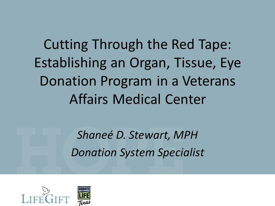 Cutting Through the Red Tape: Establishing an Organ, Tissue, Eye Donation Program in a Veterans Affairs Medical Center Shaneé D.