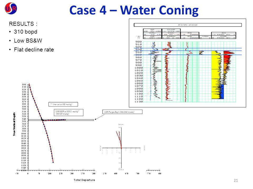 21 RESULTS : 310 bopd Low BS&W Flat decline rate Case 4 – Water Coning