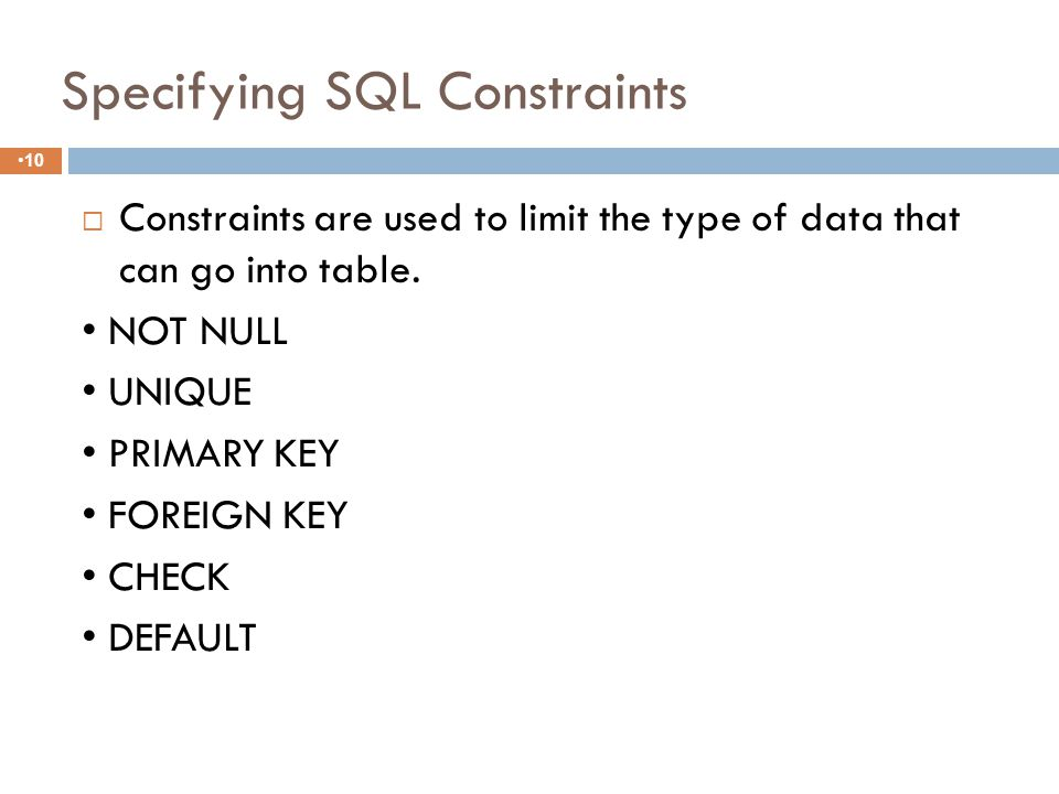 SQL CREATE TABLE Syntax 9 CREATE TABLE table_name ( column_name1 data_type constraint if any, column_name2 data_type constraint if any, column_name3 data_type constraint if any,....