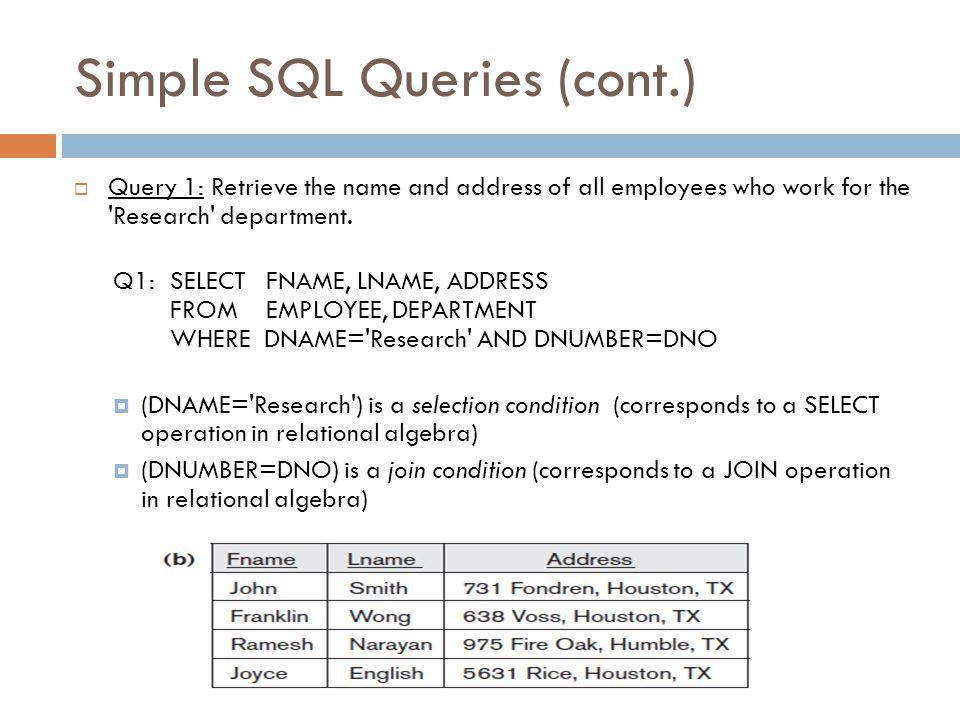 Simple SQL Queries Slide 8-23  Query 0: Retrieve the birthdate and address of the employee whose name is John B.