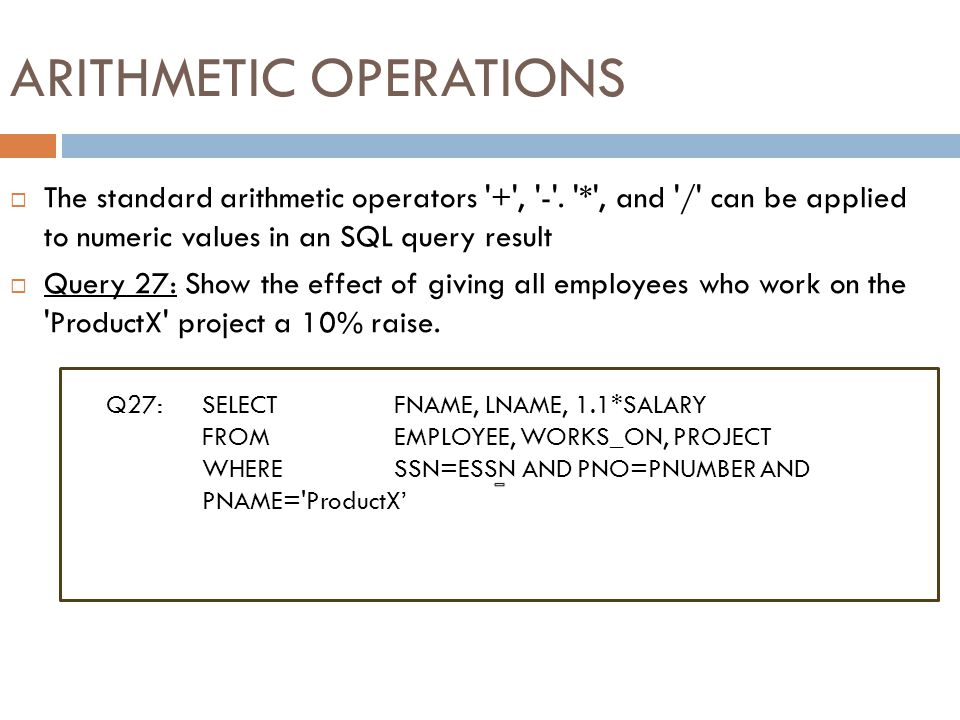 SUBSTRING COMPARISON (cont.) Slide 8-44  Query 26: Retrieve all employees who were born during the 1950s.