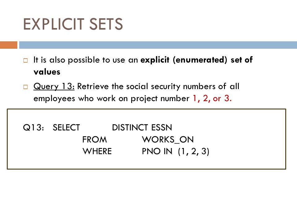 THE EXISTS FUNCTION (cont.) Slide 8-54  Query 6: Retrieve the names of employees who have no dependents.