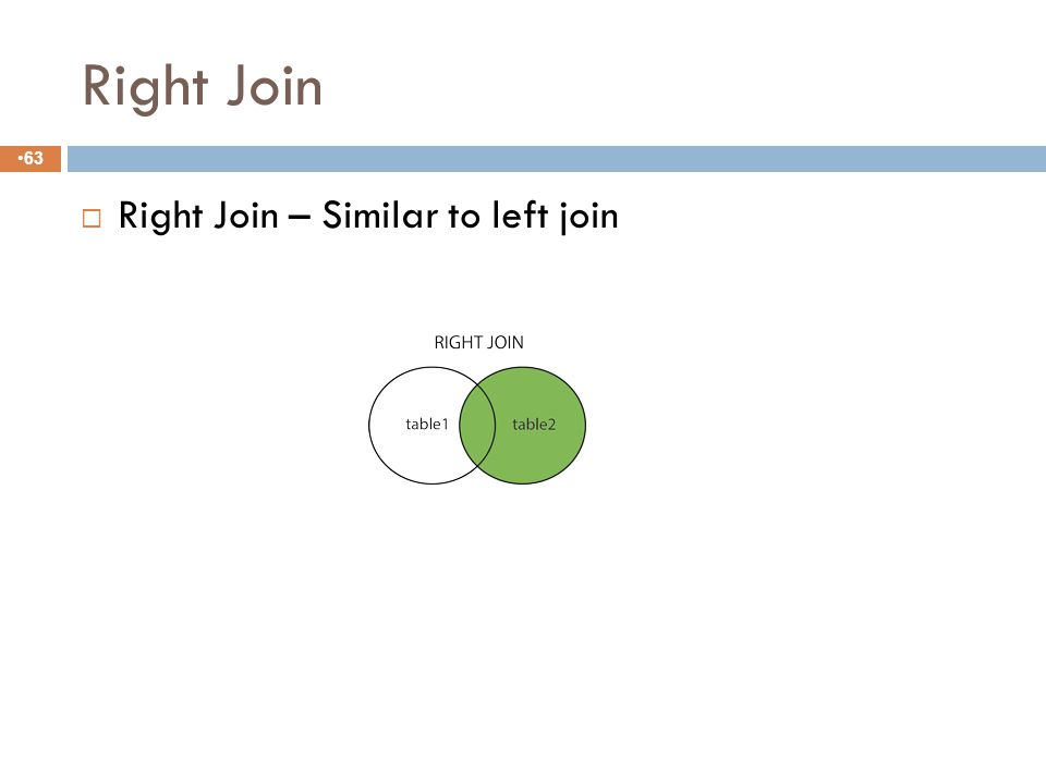 LEFT JOIN Slide 8-62  The SQL LEFT JOIN returns all rows from the left table, even if there are no matches in the right table.