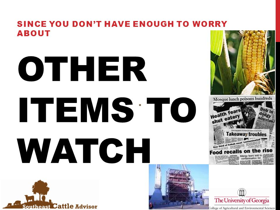 OTHER ITEMS TO WATCH SINCE YOU DON'T HAVE ENOUGH TO WORRY ABOUT