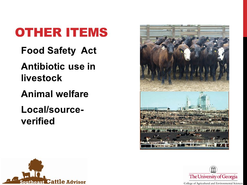 OTHER ITEMS Food Safety Act Antibiotic use in livestock Animal welfare Local/source- verified
