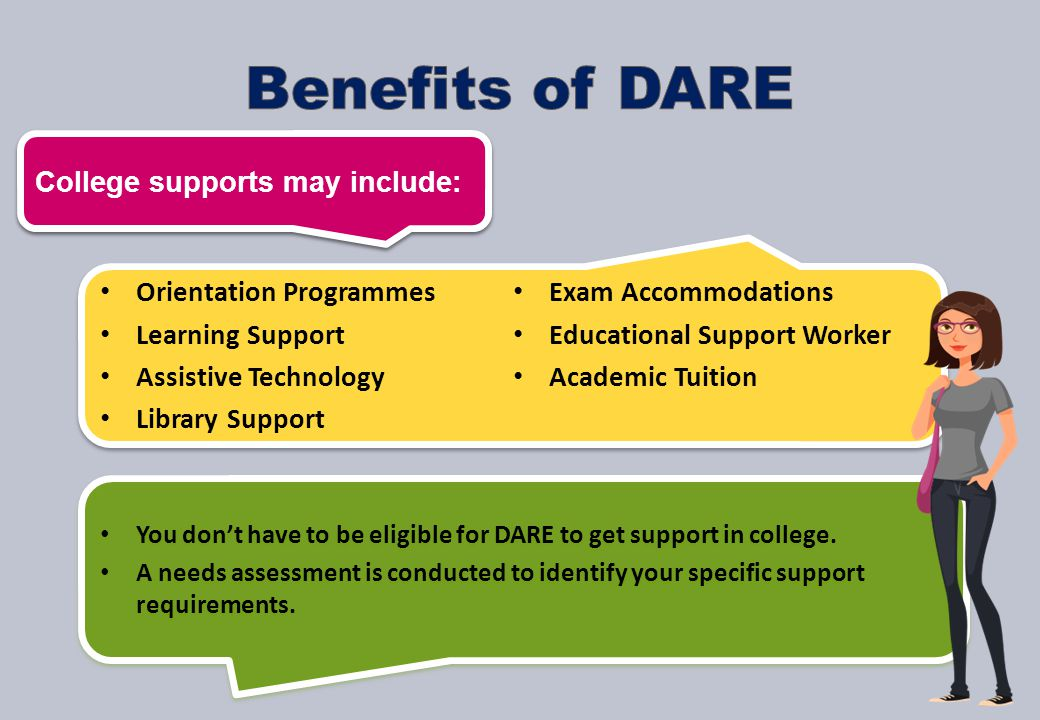 Orientation Programmes Learning Support Assistive Technology Library Support Exam Accommodations Educational Support Worker Academic Tuition Orientation Programmes Learning Support Assistive Technology Library Support Exam Accommodations Educational Support Worker Academic Tuition You don't have to be eligible for DARE to get support in college.