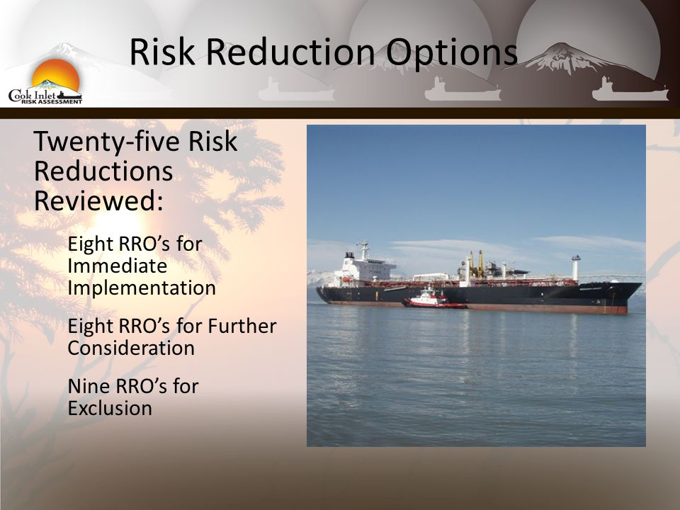 Risk Reduction Options Twenty-five Risk Reductions Reviewed: Eight RRO's for Immediate Implementation Eight RRO's for Further Consideration Nine RRO's for Exclusion