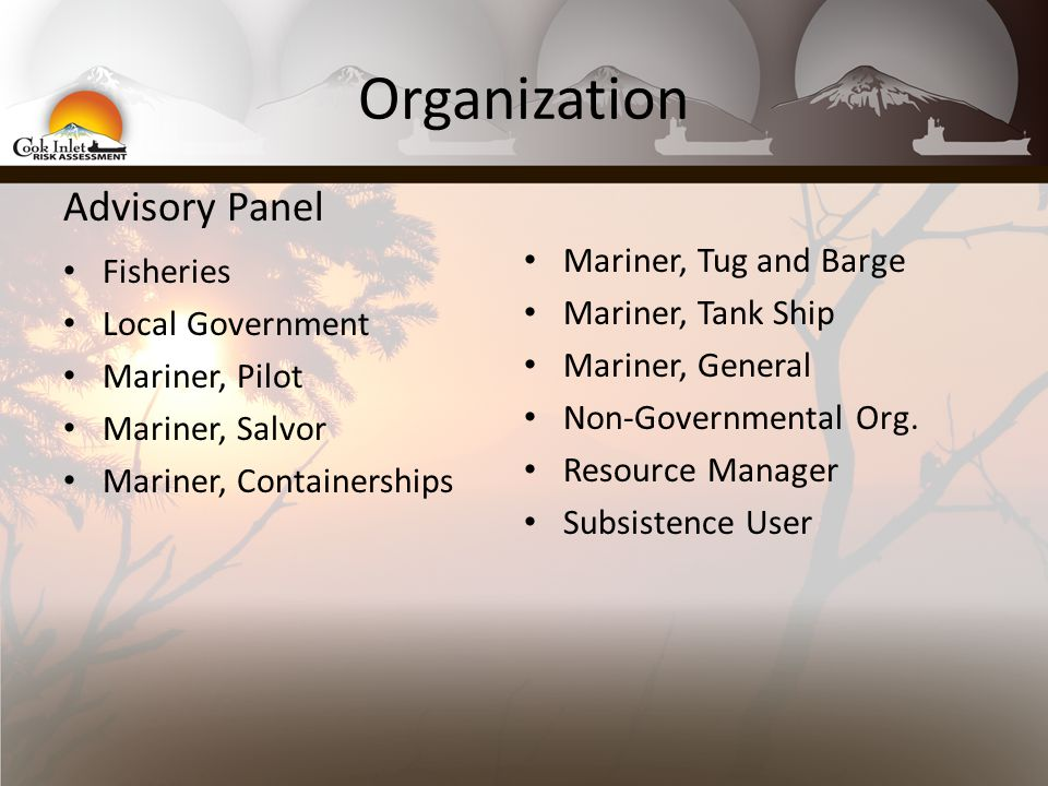 Organization Advisory Panel Fisheries Local Government Mariner, Pilot Mariner, Salvor Mariner, Containerships Mariner, Tug and Barge Mariner, Tank Ship Mariner, General Non-Governmental Org.