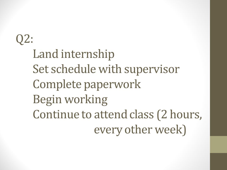 Q2: Land internship Set schedule with supervisor Complete paperwork Begin working Continue to attend class (2 hours, every other week)