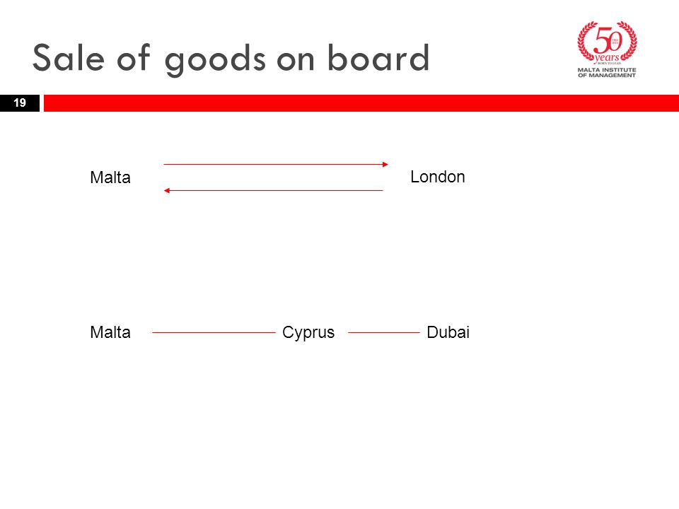 Sale of goods on board 19 MaltaDubai Malta London Cyprus