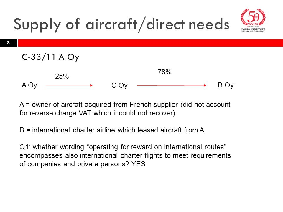 Supply of aircraft/direct needs C-33/11 A Oy 8 A Oy C Oy B Oy A = owner of aircraft acquired from French supplier (did not account for reverse charge VAT which it could not recover) B = international charter airline which leased aircraft from A Q1: whether wording operating for reward on international routes encompasses also international charter flights to meet requirements of companies and private persons.