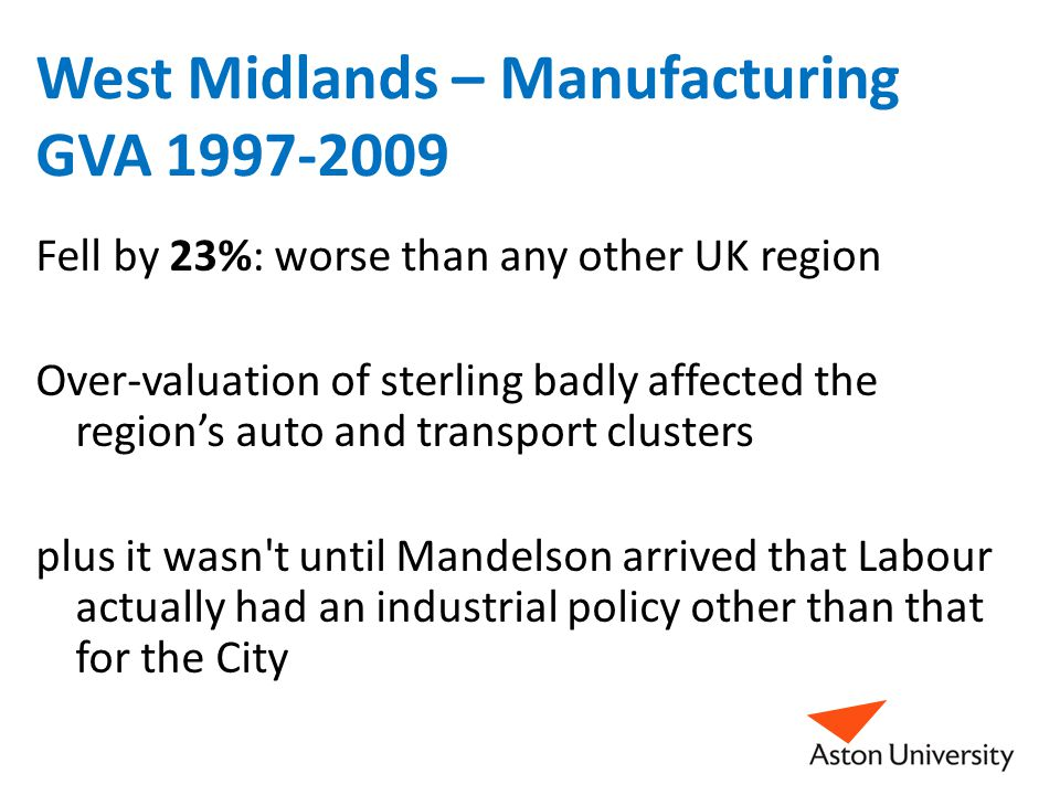 West Midlands – Manufacturing GVA 1997-2009 Fell by 23%: worse than any other UK region Over-valuation of sterling badly affected the region's auto and transport clusters plus it wasn t until Mandelson arrived that Labour actually had an industrial policy other than that for the City