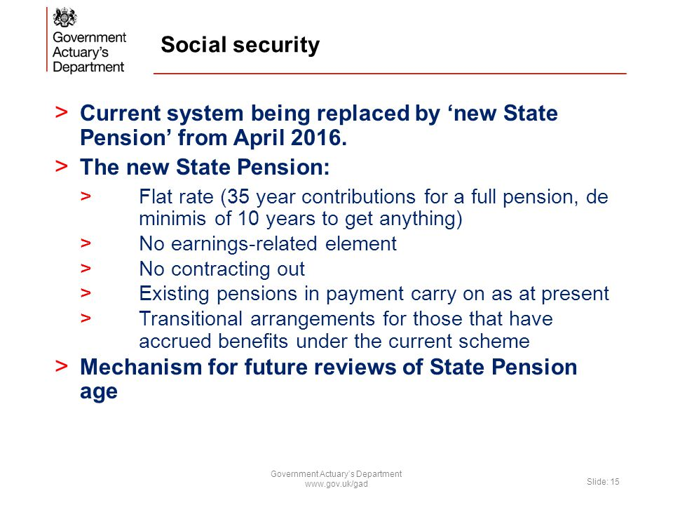Social security > Current system being replaced by 'new State Pension' from April 2016.