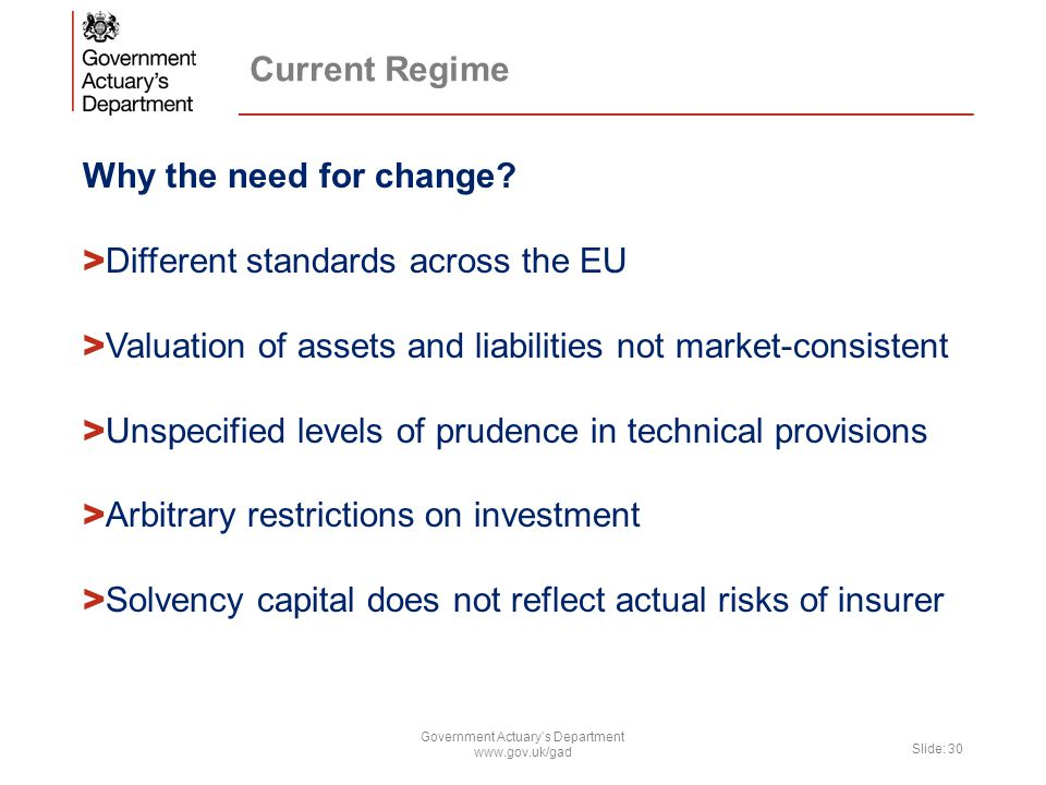 Current Regime Why the need for change? > Different standards across the EU > Valuation of assets and liabilities not market-consistent > Unspecified