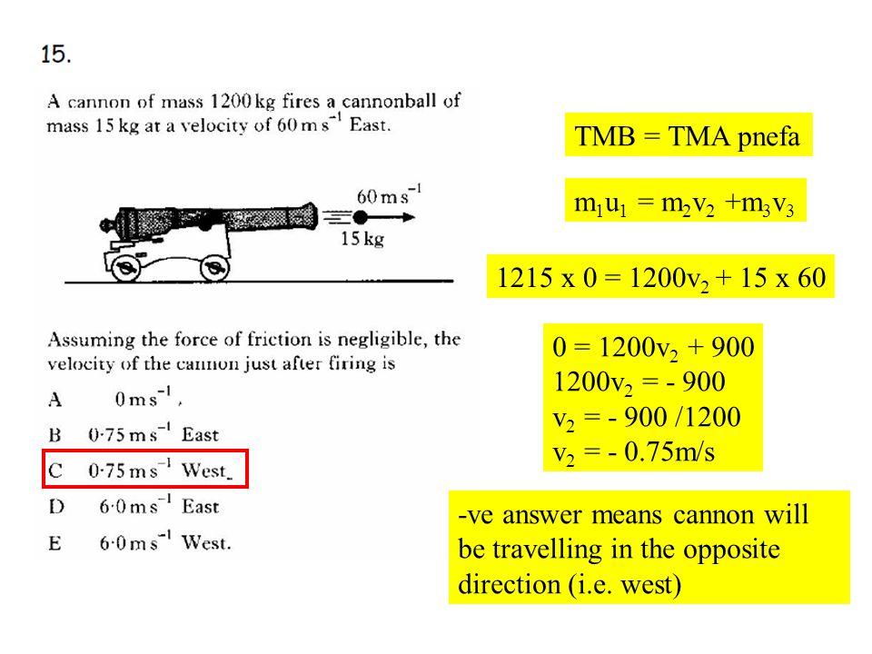 Q15 TMB = TMA pnefa m 1 u 1 = m 2 v 2 +m 3 v 3 1215 x 0 = 1200v 2 + 15 x 60 0 = 1200v 2 + 900 1200v 2 = - 900 v 2 = - 900 /1200 v 2 = - 0.75m/s -ve an