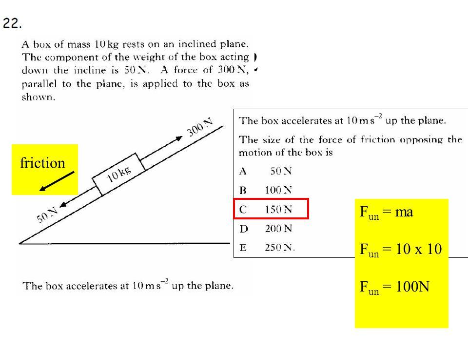 Q22 friction F un = ma F un = 10 x 10 F un = 100N