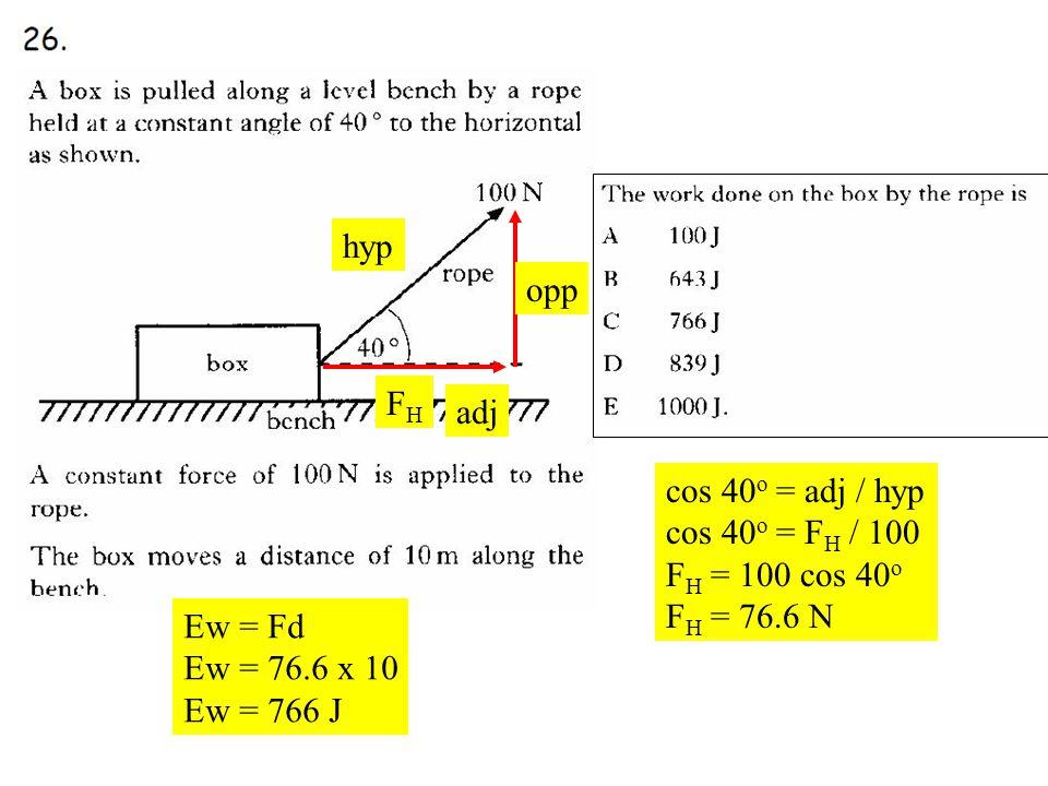 Q26 FHFH opp hyp adj cos 40 o = adj / hyp cos 40 o = F H / 100 F H = 100 cos 40 o F H = 76.6 N Ew = Fd Ew = 76.6 x 10 Ew = 766 J