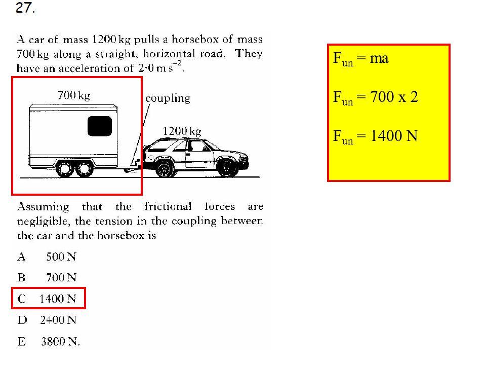 Q27 F un = ma F un = 700 x 2 F un = 1400 N