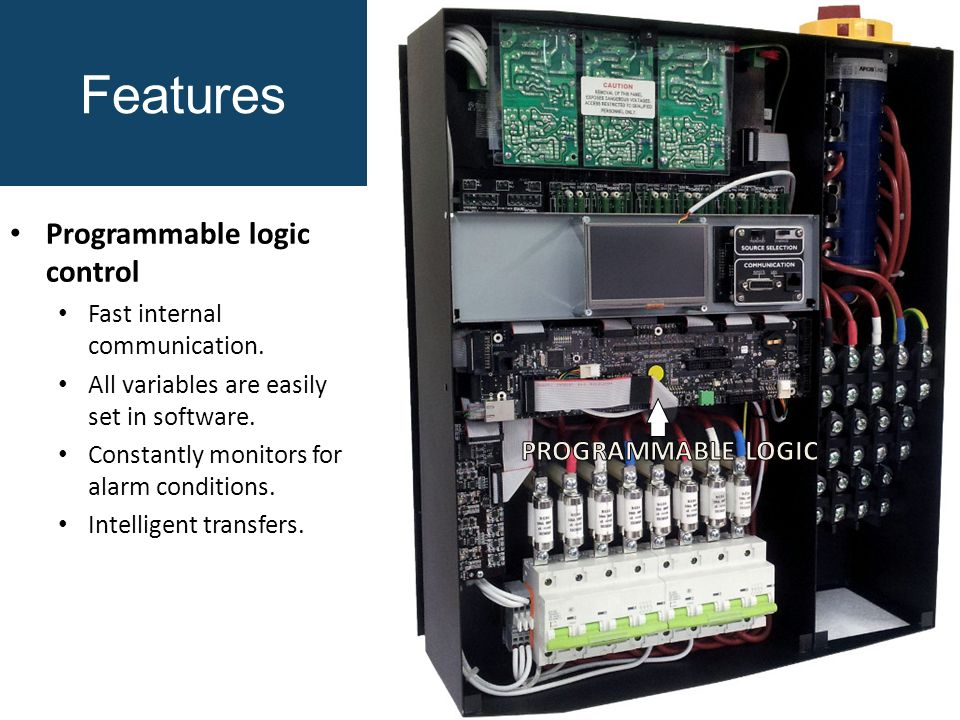 Features Programmable logic control Fast internal communication.