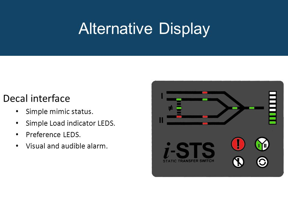 Decal interface Simple mimic status. Simple Load indicator LEDS. Preference LEDS. Visual and audible alarm. ` Alternative Display