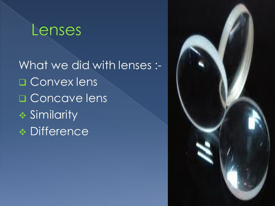 What we did with lenses :-  Convex lens  Concave lens  Similarity  Difference