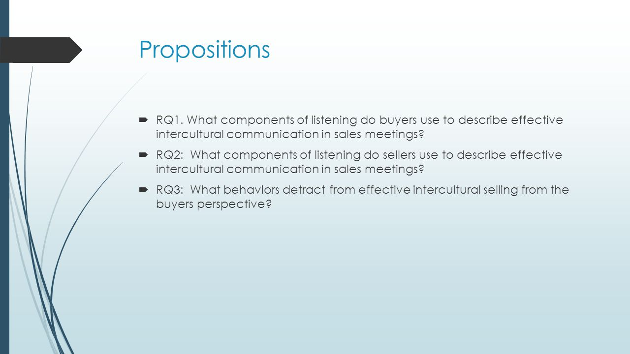 Propositions  RQ1. What components of listening do buyers use to describe effective intercultural communication in sales meetings?  RQ2: What compon