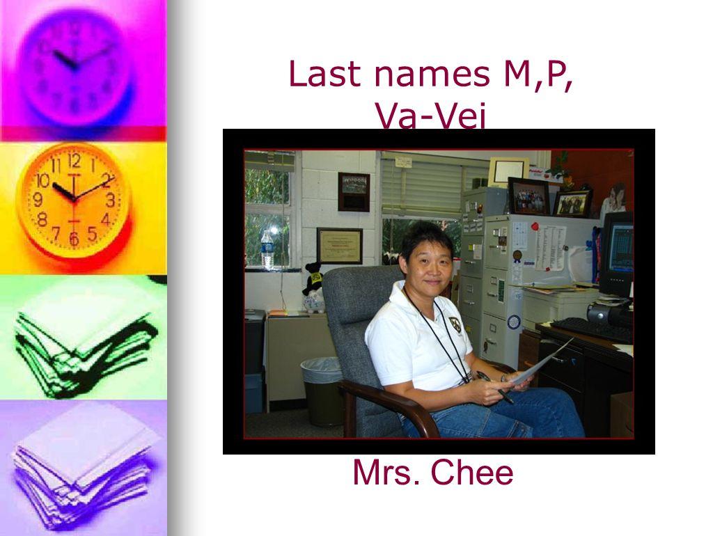 Last names M,P, Va-Vei Mrs. Chee