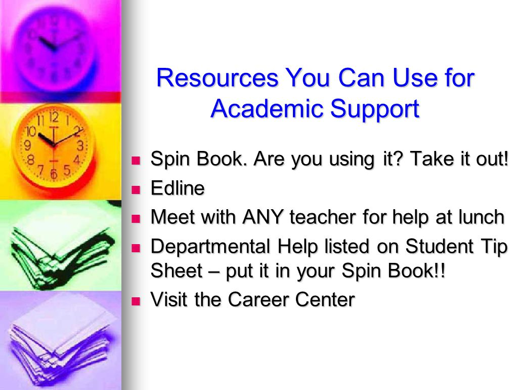 Resources You Can Use for Academic Support Spin Book.