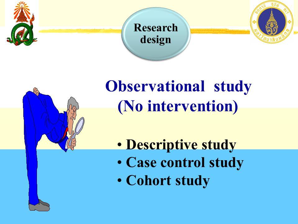 Observational study (No intervention) Descriptive study Case control study Cohort study Research design
