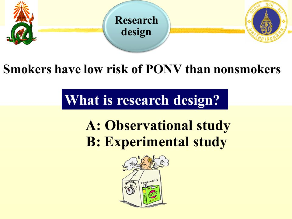 Smokers have low risk of PONV than nonsmokers A: Observational study B: Experimental study What is research design.