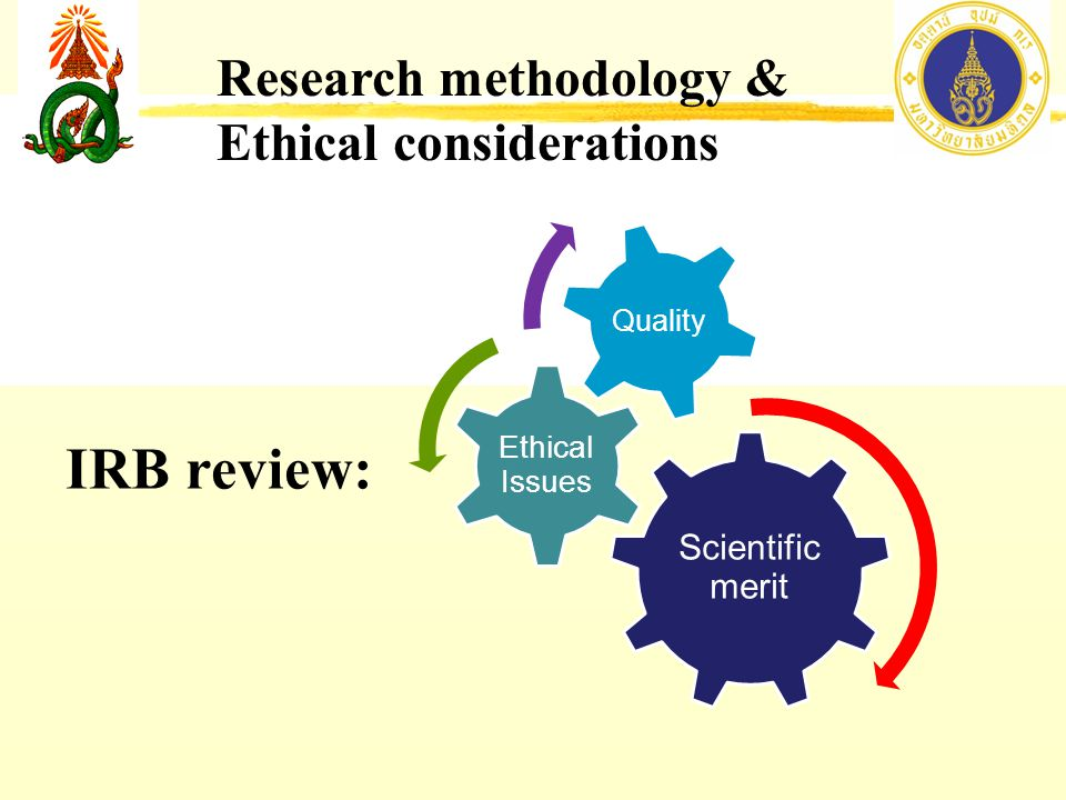 Scientific merit Ethical Issues Quality IRB review: Research methodology & Ethical considerations