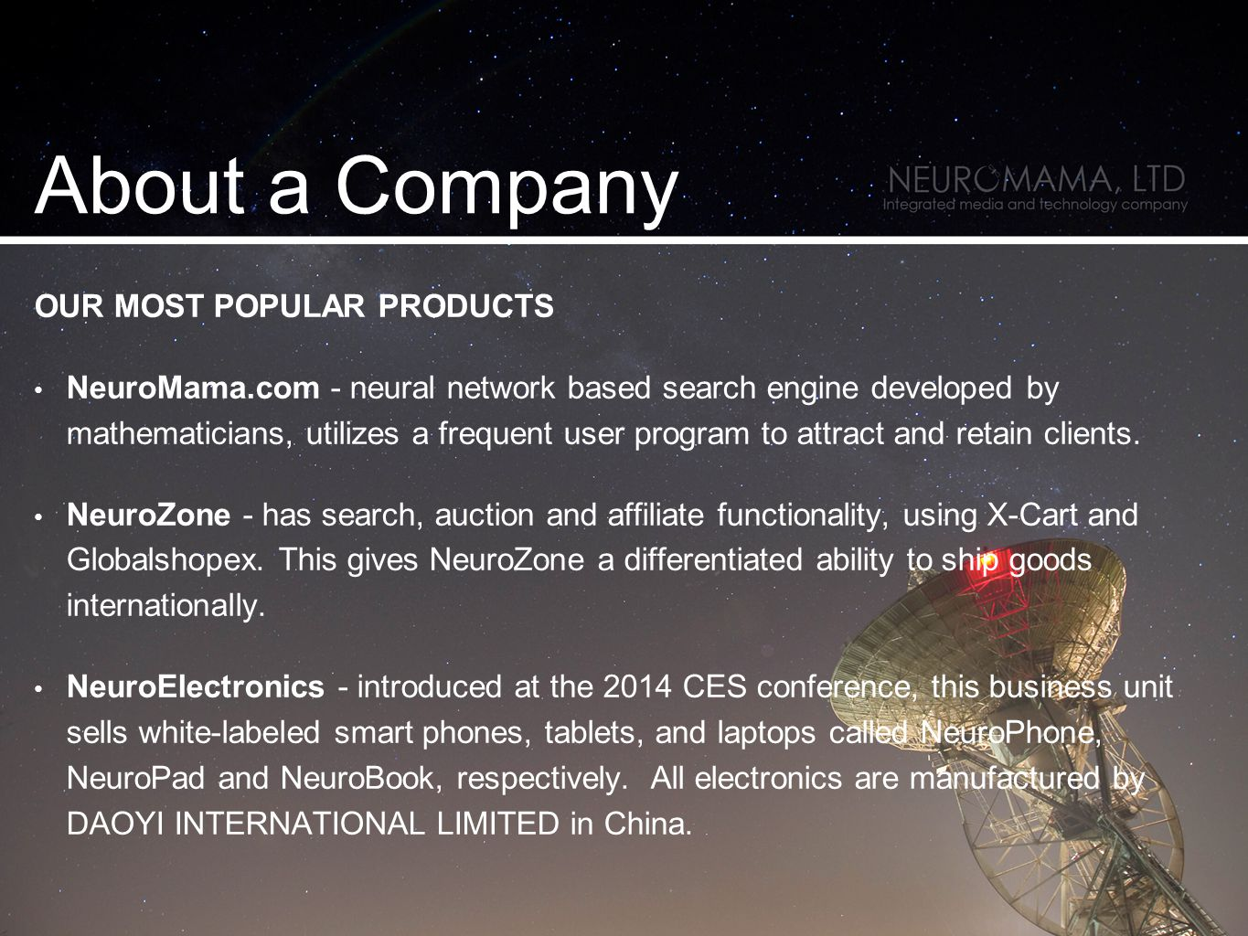 OUR MOST POPULAR PRODUCTS NeuroMama.com - neural network based search engine developed by mathematicians, utilizes a frequent user program to attract and retain clients.