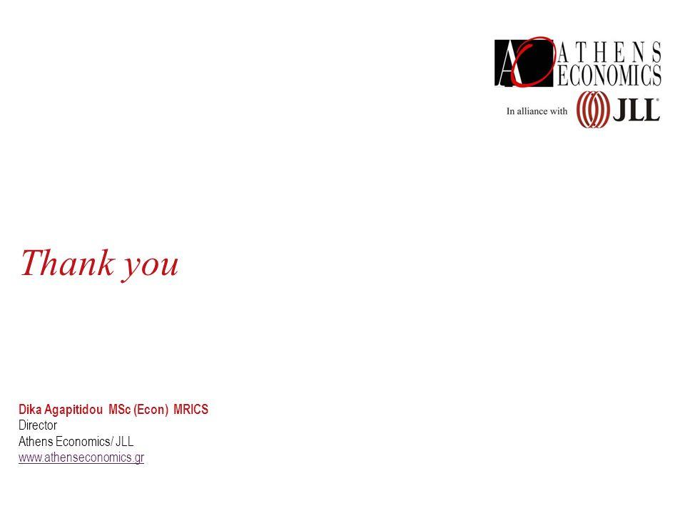 Thank you Dika Agapitidou MSc (Econ) MRICS Director Athens Economics/ JLL www.athenseconomics.gr