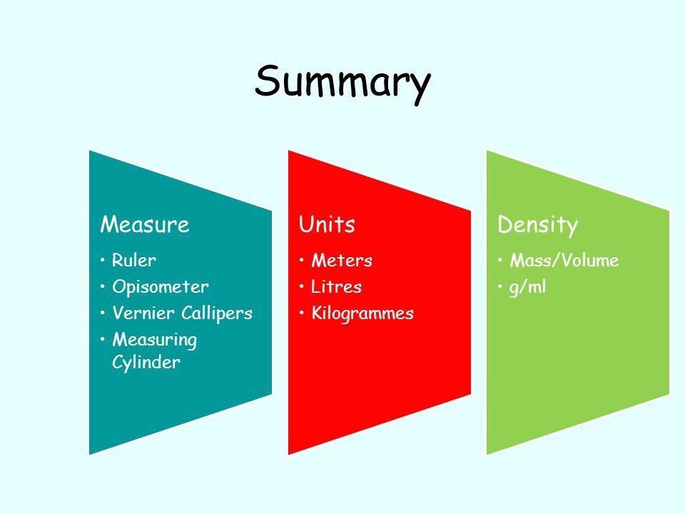 Summary Measure Ruler Opisometer Vernier Callipers Measuring Cylinder Units Meters Litres Kilogrammes Density Mass/Volume g/ml