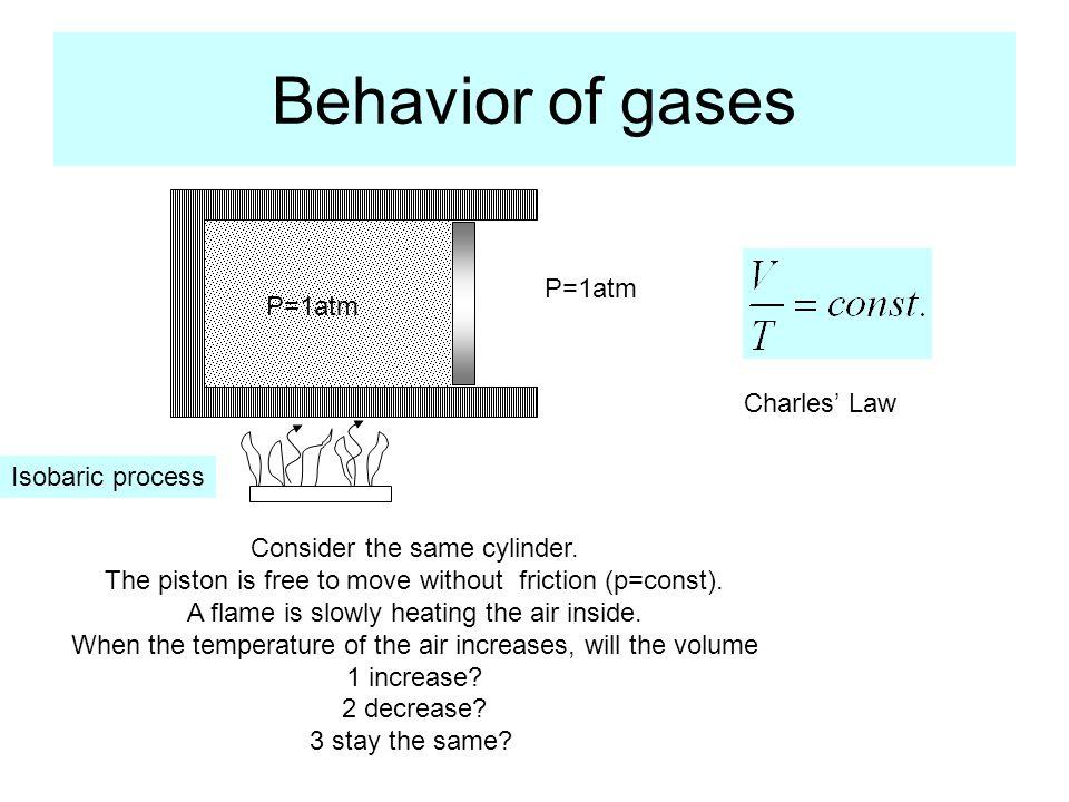 Behavior of gases Consider the same cylinder.