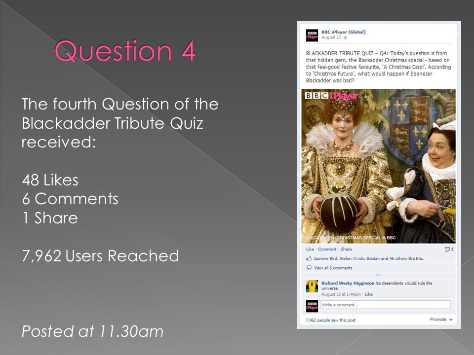 The fourth Question of the Blackadder Tribute Quiz received: 48 Likes 6 Comments 1 Share 7,962 Users Reached Posted at 11.30am