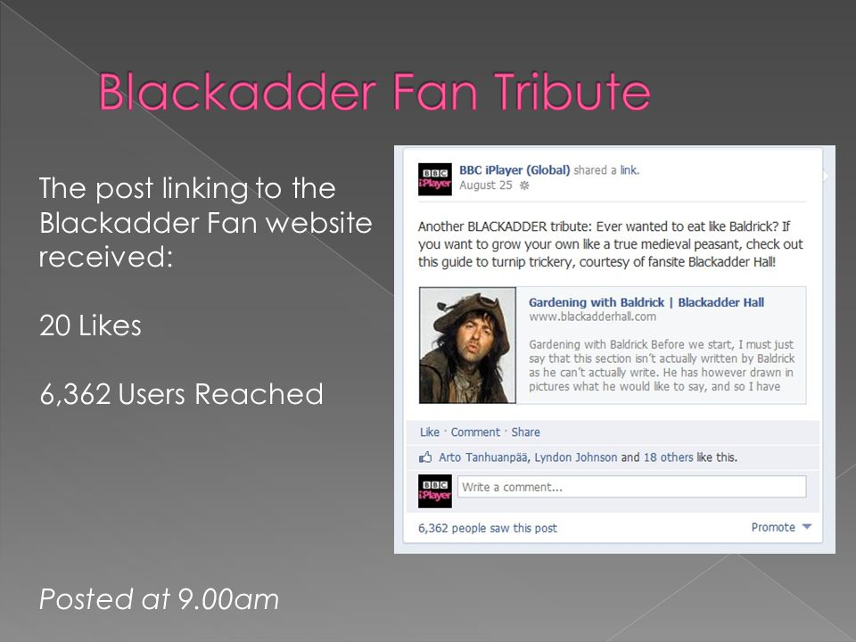 The post linking to the Blackadder Fan website received: 20 Likes 6,362 Users Reached Posted at 9.00am