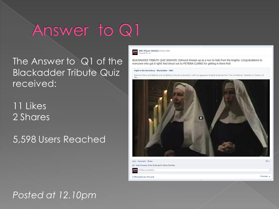 The Answer to Q1 of the Blackadder Tribute Quiz received: 11 Likes 2 Shares 5,598 Users Reached Posted at 12.10pm
