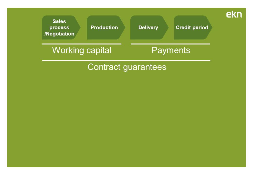 Credit periodDeliveryProduction Payments Contract guarantees Working capital Sales process /Negotiation