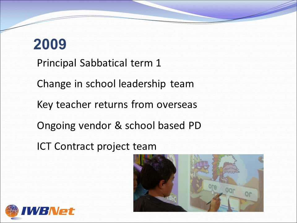 Principal Sabbatical term 1 Change in school leadership team Key teacher returns from overseas Ongoing vendor & school based PD ICT Contract project team 2009