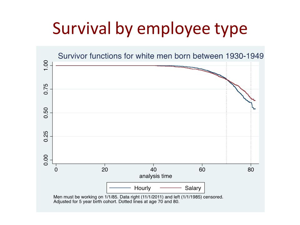 Survival by employee type