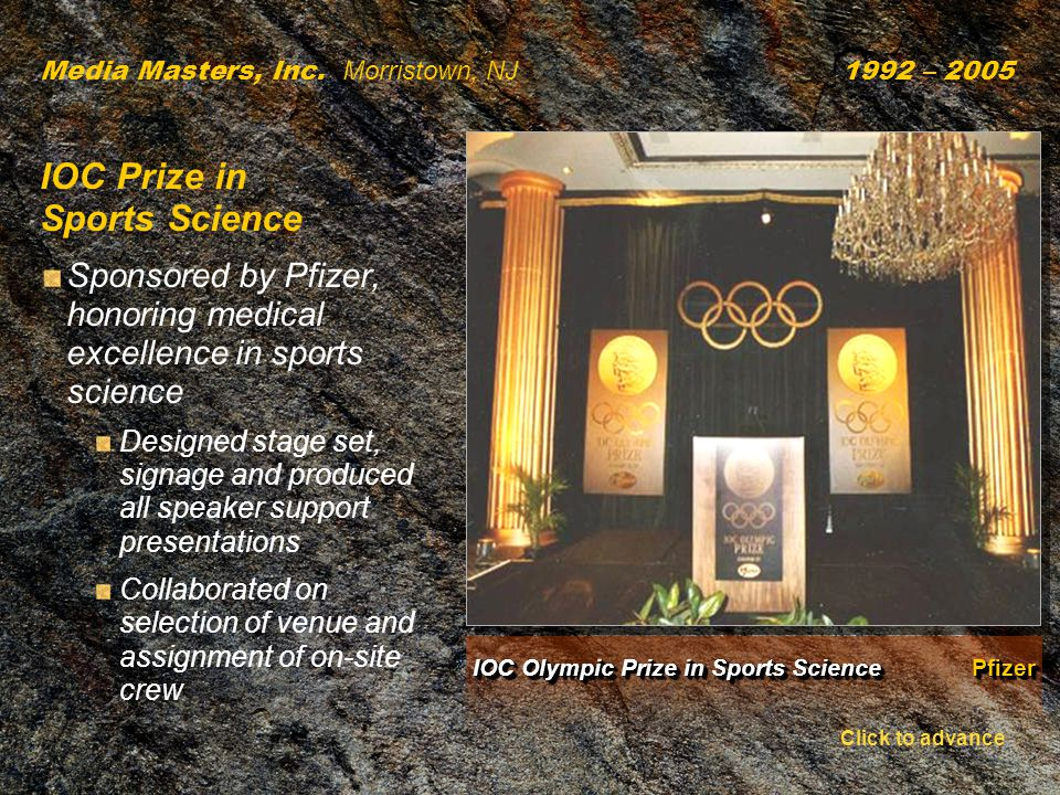 IOC Olympic Prize in Sports Science Pfizer Media Masters, Inc.